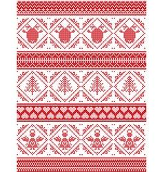 Angel christmas tree heart reindeer pattern vector