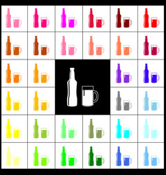 beer bottle sign felt-pen 33 colorful vector image vector image
