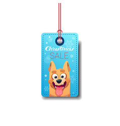christmas sale tag with dog holiday discount vector image vector image