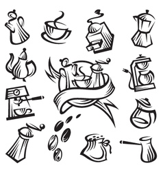 Coffee icon set vector