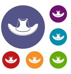 Cowboy hat icons set vector