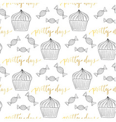 cupcakes and candy seamless pattern sweets vector image vector image