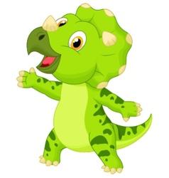 Cute baby triceratops cartoon vector image