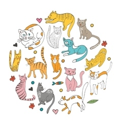 Cute hand drawn cats colorful set arranged in vector