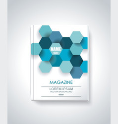 Design of magazine cover with abstract blue vector