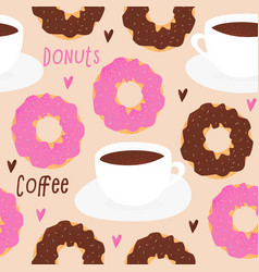donut and tea cup design vector image