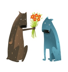 Funny dog in love presenting flowers to friend vector
