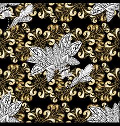 golden seamless pattern golden pattern on black vector image