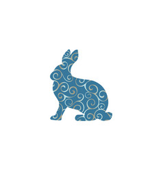 Hare wild color silhouette animal vector