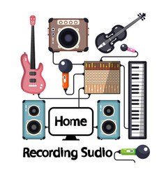 home recording studio with musical instruments vector image vector image