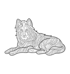 Monochrome hand drawn zentagle of wolf coloring vector