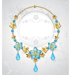 Necklace with gold flowers vector