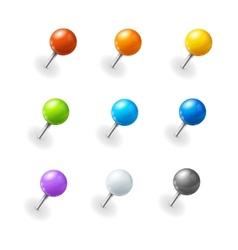pushpins set vector image vector image