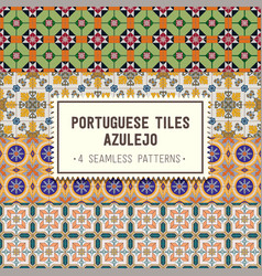 seamless patterns set with portuguese tiles vector image vector image