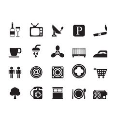 Silhouette Hotel and Motel objects icons vector image vector image