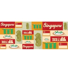 travel and tourism icons Singapore vector image vector image