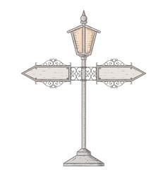 Vintage lamp post hand drawn sketch vector