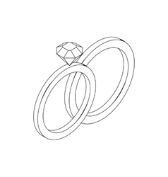 Wedding rings icon isometric 3d style vector image