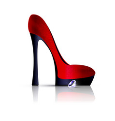 White and red shoe with crystal vector