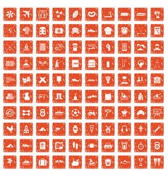 100 activity icons set grunge orange vector