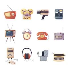 Retro media gadgets cartoon set vector