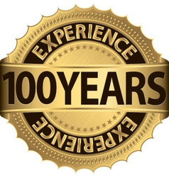 100 years experience golden label with ribbon vector
