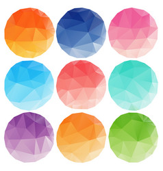 Low poly circles with different colours vector