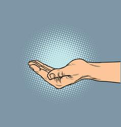 Hand hand begging gesture vector