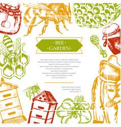 Bee garden - color vintage postcard vector