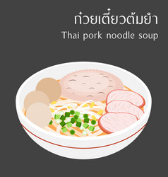 Thai pork noodle soup vector