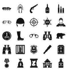 Shot icons set simple style vector
