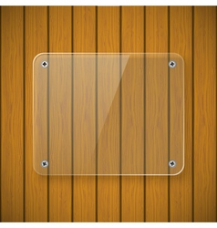 Glass plate on the background of wooden wall vector