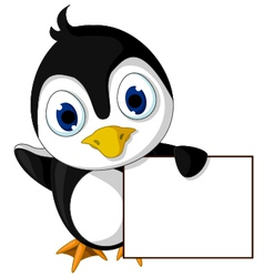 Cute little penguin cartoon holding blank sign vector