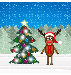 Christmas reindeer and christmas tree vector