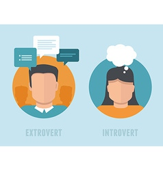 Extraversion-introversion infographics in flat vector