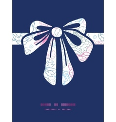 Gray and pink lineart florals gift bow vector