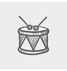 Drum with stick sketch icon vector