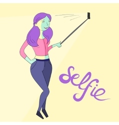 Selfie girl photo vivid color vector