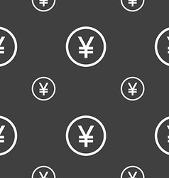 Japanese yuan icon sign seamless pattern on a gray vector