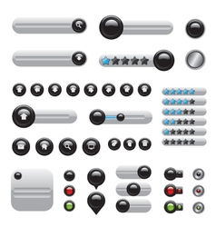 Web elements set white buttons vector