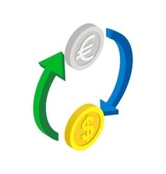 Exchange of money icon isometric 3d style vector image