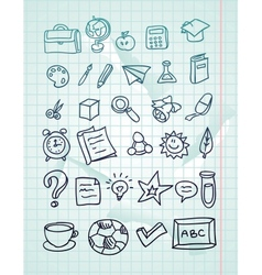 icon set - hand drawn school doodles vector image