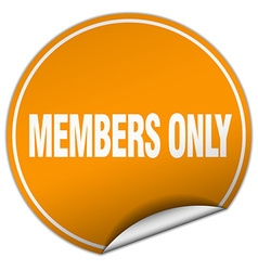 Members only round orange sticker isolated on vector