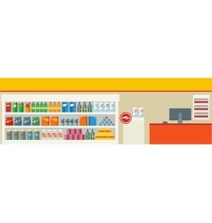 Grocery store with a showcase and a cash counter vector