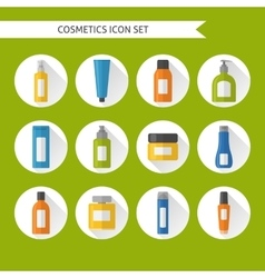 Flat style cosmetics icons set vector