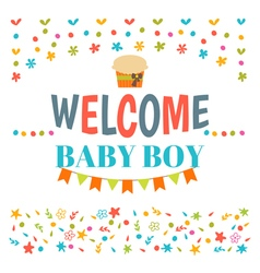 Welcome baby boy shower card arrival card vector