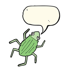 Cartoon bug with speech bubble vector