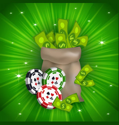 Casino banner with tokens and money bag vector