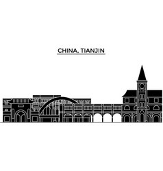 china tianjin architecture urban skyline with vector image