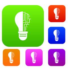 circuit board inside light bulb set color vector image